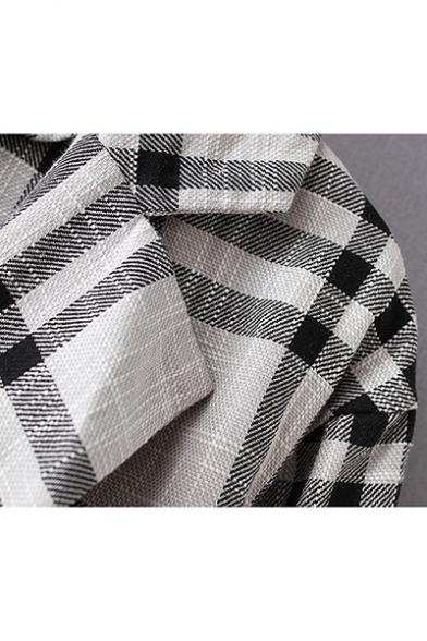 Fashion Plaid Pattern Notch Lapel Pocket Front Single Button Longline Trench Coat