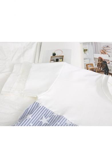 Fashion Short Sleeve Round Neck Star Striped Printed Mesh Patch T Shirt