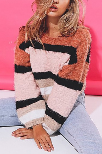 Fashion Womens Lovely Stripes Patchwork Print Round Neck Bloomer Sleeve Boxy Sweater, LM557080