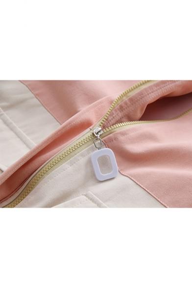 Girls Preppy Style Fashion Color Block Long Sleeve Drawstring Hem Hooded Coat Jacket