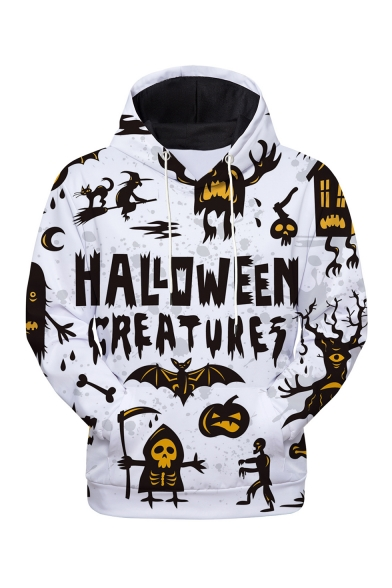 Halloween New Stylish Letter Skull Pumpkin Printed Long Sleeve Unisex Pullover Hoodie