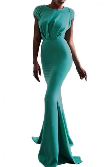 Hot Fashion Round Neck Cap Sleeve Sequined Twist-Waist Tie Back Open Back Pleat Hem Maxi Plain Bodycon Dress