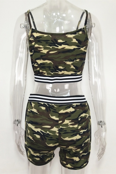 Hot Popular Camouflage Sleeveless Camisole with High-Waist Dolphin Shorts Co-ords for Women