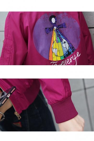 JEWELLERYE Colorful Earth Printed Stand Collar Long Sleeve Baseball Jacket with Pocket