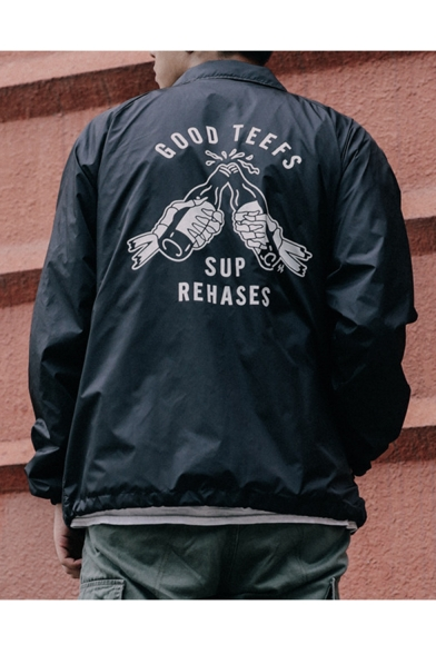 Men's New Street Style Funny GOOD TEEFS Letter Beer Printed Lapel ColLar Long Sleeve Zip Up Track Jacket