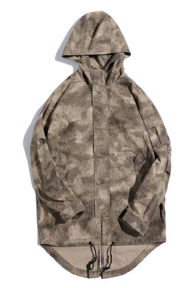 Men's New Stylish Camo Printed Zip Placket Long Sleeve Longline Hooded Green Jacket