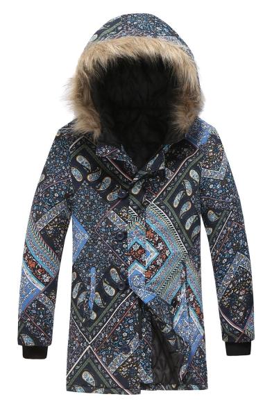 Men's New Tredny Tribal Print Single Breasted Long Sleeve Hood Concealed Longline Black Padded Coat