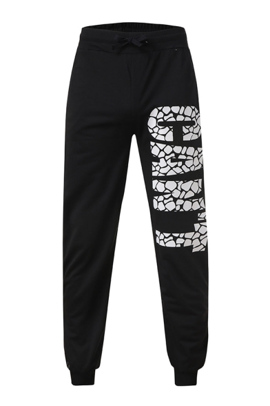 Men's Trendy Letter GANT Printed Drawstring Waist Casual Jogging Sweatpants