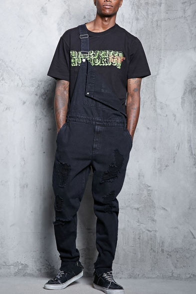 New Arrival Black Solid Color Casual Loose Fit Trendy Ripped Jeans Bib Overalls