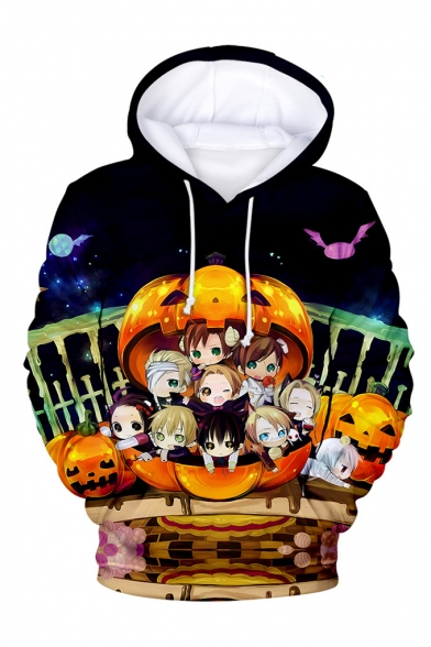 New Arrival Halloween Pumpkin Cartoon Figure Printed Long Sleeve Casual Loose Hoodie
