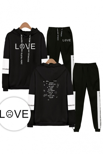 New Cool Letters LOVE Print Sport Long Sleeve Loose Hoodie with Elastic Sweatpants Two Piece Set, Black;white;gray;navy, LM556321