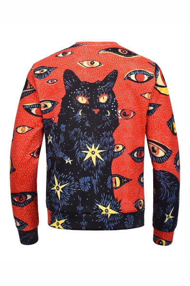 New Fashion Cat Eye 3D Printed Round Neck Long Sleeve Trendy Red Pullover Sweatshirts