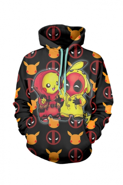 New Fashion Popular Comic Figure 3D Printed Black Long Sleeve Drawstring Pullover Hoodie