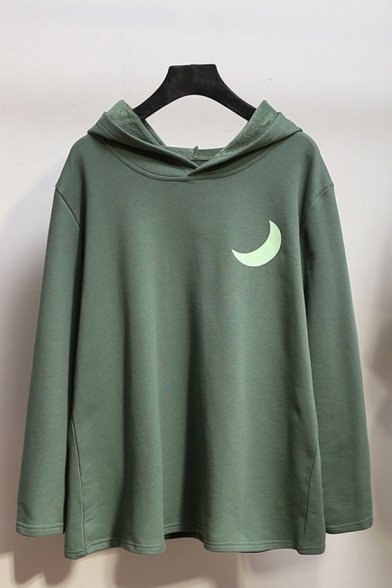 New Popular Reflect Light Moon Pattern Long Sleeve Casual Loose Hoodie