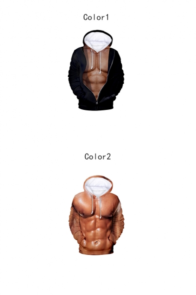 New Stylish Cool Muscle 3D Printed Long Sleeve Casual Loose Hoodie