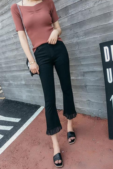 New Trendy Simple Plain Zippered Chiffon Fitted Boot Cut Pants