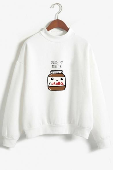 New Trendy YOURE My NUTELLA Letter Print Mock Neck Long Sleeve Loose Sweatshirt