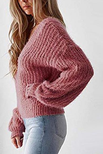 New Womens Plain V Neck Mohair Knit Flared Sleeve Boxy Sweater