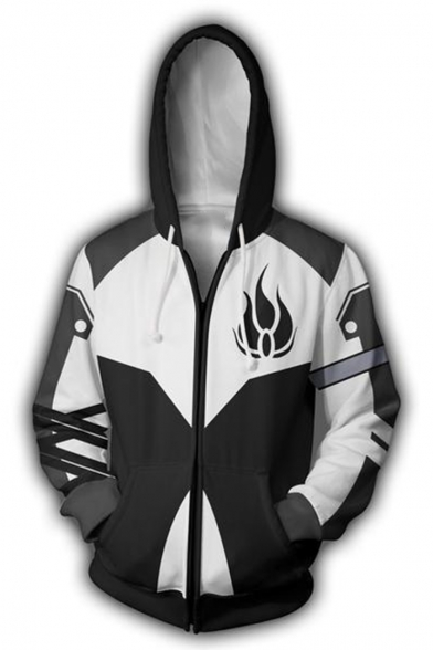 Popular Fashion Fire Printed Cosplay Costume Black and White Long Sleeve Zip Up Hoodie