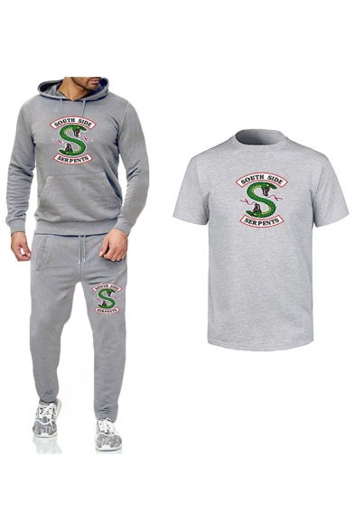 Popular South Side Snake Logo Printed Hoodie with Sport Joggers Pants Sweatpants Casual T-Shirt Three-Piece Set, LC555879, Black;red;white;yellow;dark gray;light gray;white-red;red gray