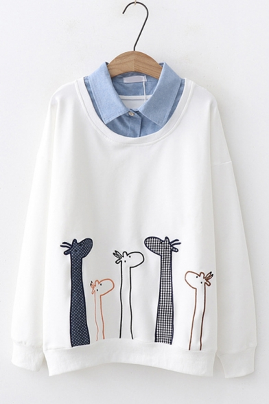 Preppy Style Cartoon Giraffe Embroidery Patched Long Sleeve Cotton Loose Sweatshirt