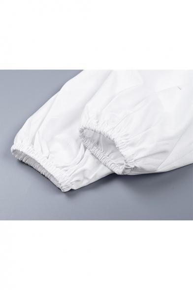 Summer New Trendy Plain Square Neck Long Sleeve Frill Detail White Blouse Top