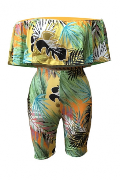 Summer Trendy Tropical Printed Ruffled Off the Shoulder Crop Top with Half Shorts Two-Piece Set