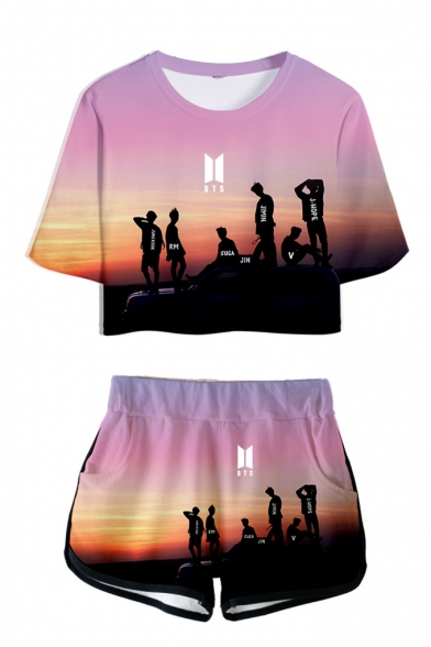 Trendy BTS Idol 3D Print Patterns Short Sleeve Cropped T-Shirt with Dolphins Shorts Two Piece Set