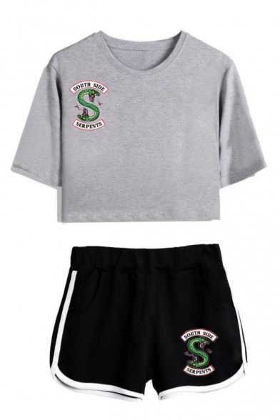 Trendy Snake Logo Printed Short Sleeve Crop Tee with Dolphin Shorts Two-Piece Set