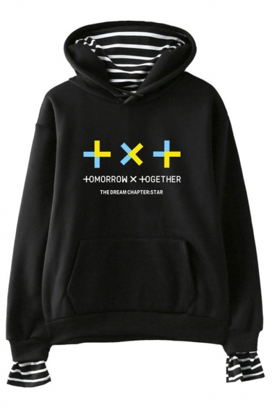 Unique Letter TXT Printed Stripe Inside Fake Two-Piece Casual Hoodie, Black;dark navy;pink;white;gray, LM551423