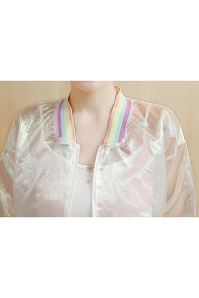 Unique Rainbow Striped Trim Stand Collar Transparent Sunscreen Zip Up Jacket