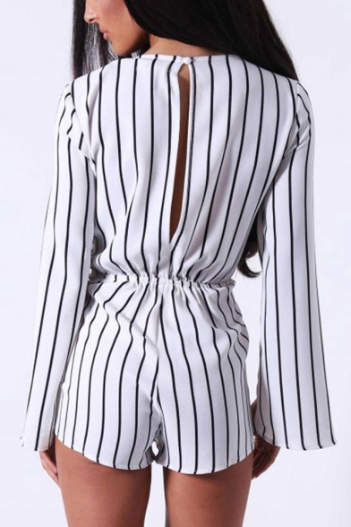 White Drawstring Waist Split Sleeve Cutout Round Neck Rompers for Office Lady