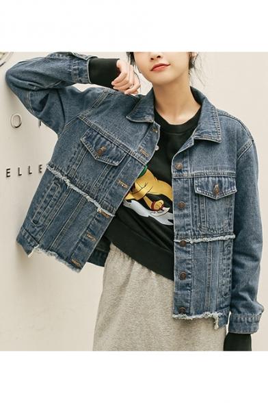 Women Casual Blouse Fashion Jacket Denim Jeans Pocket Coat Outwear