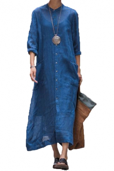 Women's Fashion Round Neck Long Sleeve Single Breasted Pockets Split Front Plain Shirt Dress