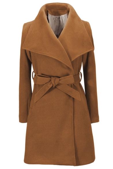Women Winter Stylish Plain Lapel Collar Tie Waist Longline Woolen Coat