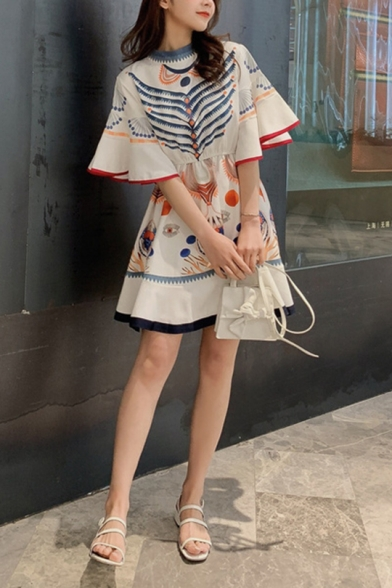 Womens Chic Pattern Round Neck Flared Sleeve Mini A-Line White Dress