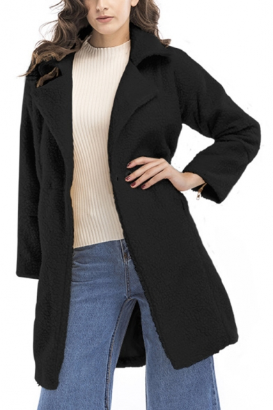 Womens Classic Fashion Notched Lapel Collar Long Sleeve Faux Fur Teddy Overcoat
