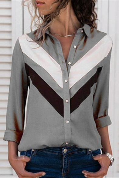Womens Fashion Colorblock Print Lapel Collar Long Sleeve Casual Shirt Blouse