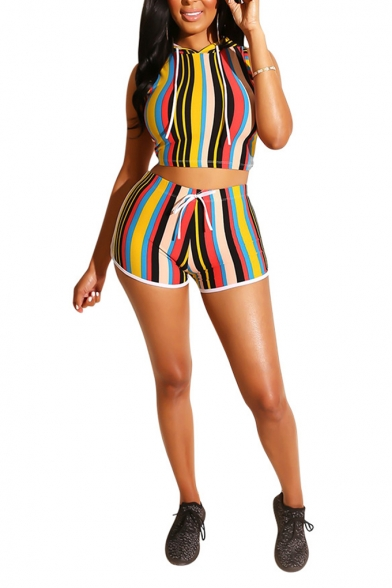 Womens Fashion Stripe Printed Hooded Sleeveless Crop Tank with Slim Shorts Two-Piece Set, Green;red;purple, LM552907