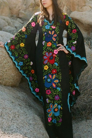 Womens Fashion V-Neck Batwing Sleeve Floral Print Boho Sheath Maxi Enevning Dress