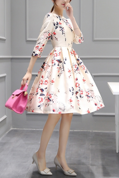 Womens New Fashion Round Neck Half Sleeve Floral Print Fit A-Line Midi Dress