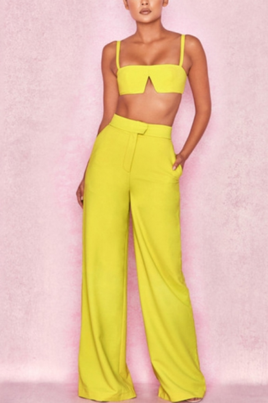 Womens New Fashion Simple Plain Crop Cami Top with Tailored Wide-Leg Pants Two-Piece Set, Red;purple;yellow, LM553030