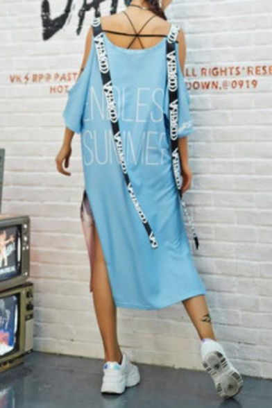 Womens New Trend Round Neck Short Sleeve Landscape Print Hollow Ribbons Slit Letter Loose Cami Maxi Shift Dress