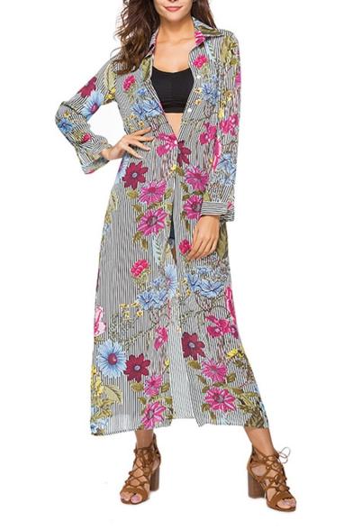 Womens New Trendy Floral Stripe Pattern Lapel Collar Long Sleeve Chiffon Longline Shirt Dress
