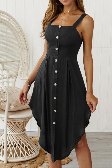 Womens Plain Sleeveless Button Front Asymmetrical Strap Dress