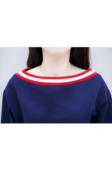 Womens Summer Short Sleeve Panelled 3-Stripe Pleated Dark Blue A-Line Mini Dress