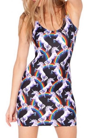 Black Allover Rainbow Unicorn Printed Scoop Neck Sleeveless Mini Bodycon Tank Dress