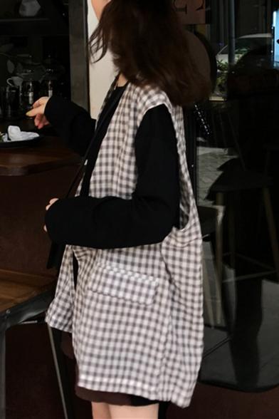 Chic Collarless Flap Pockets Plaid Pattern Print Loose Vest