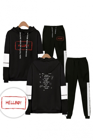 Cool Red Letters HELLBOY Print Patterns Long Sleeve Hoodie with Elastic Sweatpants Two Piece Set, LM556327, Black;white;gray;navy