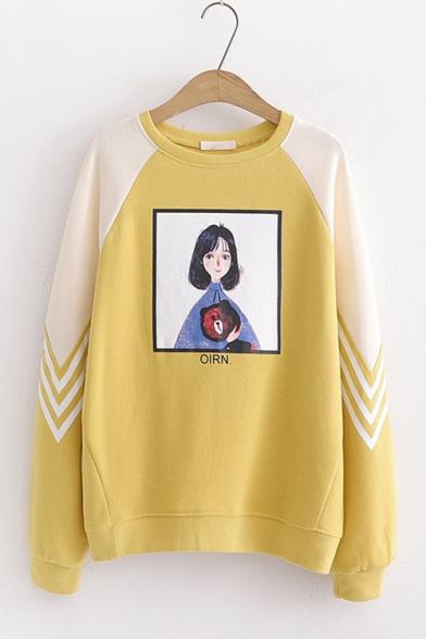 Fashion Cartoon Comic Girl Printed Color Block Round Neck Long Sleeve Pullover Sweatshirt